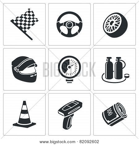 Car Racing And Pumping Vector Icons Set