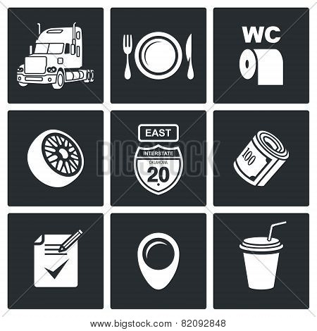 Work Truckers Vector Icon Set