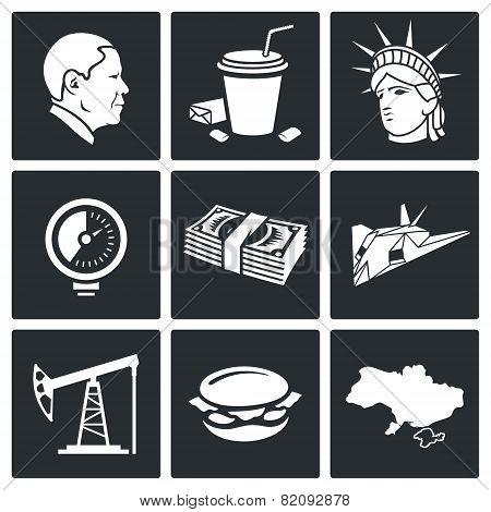 Usa Policy Vector Icons Set