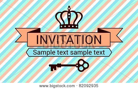 Invitation with crown and key