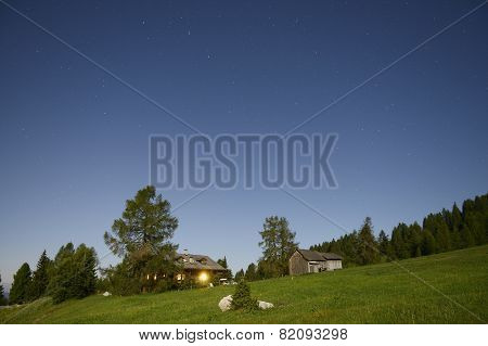 Starry Sky Over The Mountain Hut