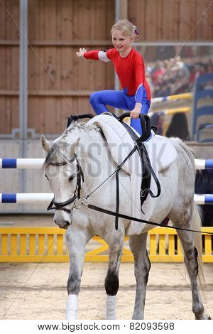 Young Girl Is Vaulting