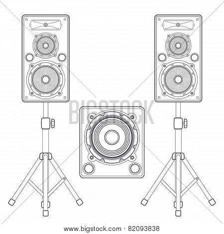 dark contour loudspeakers on stands and subwoofer technical illustration