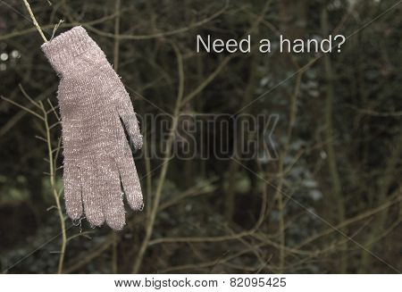 Glove hanging on branch with words