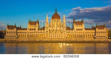 Budapest Parliament building during sunset