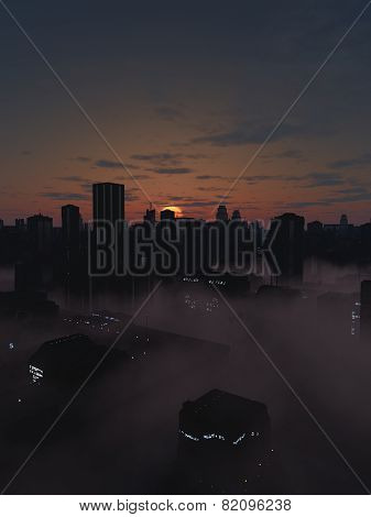 Future City in Misty Sunrise