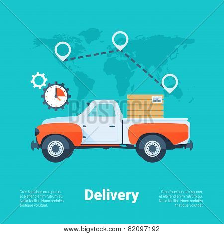 Cargo Truck. Delivery Service Concept. Flat Style With Long Shadows. Clean Design. Vector Illustrati