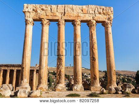 Temple of Jupiter in Baalbek ancient Roman ruins Bekaa Valley of Lebanon