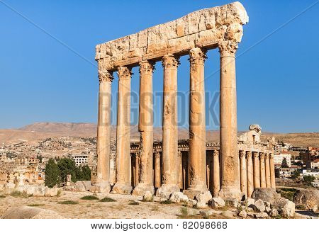 Temple of Jupiter in Baalbek ancient Roman ruins Beqaa Valley of Lebanon.