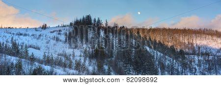 Moon Over Winter Evening Hills