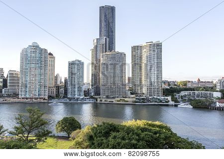 Brisbane cityscape and Riverwalk
