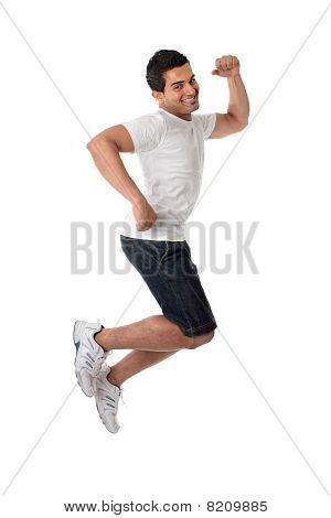Thrilled Man Jumping For Joy