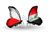 stock photo of iraq  - Two butterflies with flags on wings as symbol of relations Poland and Iraq - JPG