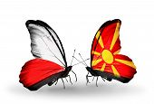 image of macedonia  - Two butterflies with flags on wings as symbol of relations Poland and Macedonia - JPG
