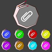 Постер, плакат: Paper Clip Sign Icon Clip Symbol Set Colourful Buttons Vector