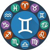 stock photo of gemini  - Astrological signs of the zodiac circle  - JPG