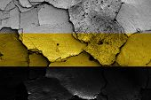 foto of flag confederate  - flag of Novorossiya painted on cracked wall - JPG