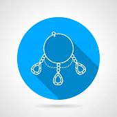 stock photo of teardrop  - Flat blue vector icon with white contour necklace with precious teardrop - JPG