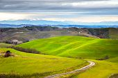 foto of farm landscape  - Tuscany winter rural sunset landscape - JPG
