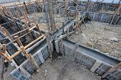 picture of reinforcing  - construction house reinforcement metal framework for concrete pouring - JPG