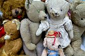 stock photo of stuffed animals  - Teddy bears and stuffed animals in a flea market