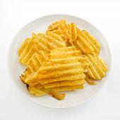 pic of crisps  - potato crisps in white plate on white background - JPG