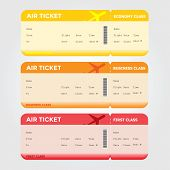 stock photo of boarding pass  - Three classes of blank flight boarding pass vector illustrations - JPG