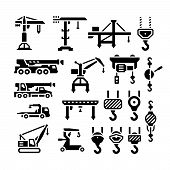 stock photo of crane hook  - Set icons of crane lifts winches and hooks isolated on white - JPG