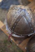 image of flea  - Old medieval helmet in a flea market - JPG