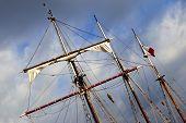 image of mast  - Masts and sails of an old sailboat - JPG