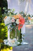 image of centerpiece  - Wedding reception centerpiece close - JPG
