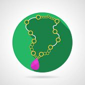 stock photo of teardrop  - Circle green flat vector icon for necklace with yellow chain and pink teardrop - JPG