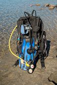 picture of sky diving  - Set of Scuba Diving kit set up ready for a dive - JPG