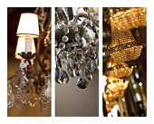 picture of chandelier  - Glass chandeliers and pendants on a collage - JPG