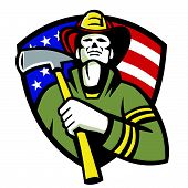 picture of firemen  - Illustration of an american fireman firefighter emergency worker holding a fire ax set inside shield with stars and stripes flag on isolated white background - JPG