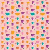 stock photo of silkscreening  - Vector coffee seamless pattern color and fun - JPG