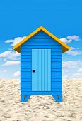 stock photo of beach-house  - 3D blue beach hut in a sunny summery day - JPG