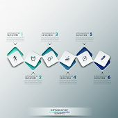 picture of process  - Modern infographics process template with paper sheets rectangles with rounded corners - JPG