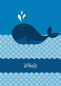 stock photo of whale-tail  - Vector illustration of Blue whale with sea - JPG