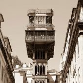 stock photo of elevators  - The famous Santa Justa elevator in Lisbon Portugal - JPG