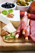 stock photo of cheese platter  - Catering platter with different meat and cheese products - JPG