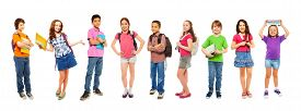 picture of combinations  - Group of school kids with divers look standing isolated on white with books and school backpacks - JPG