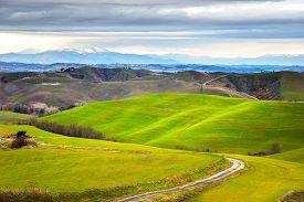 picture of farm landscape  - Tuscany winter rural sunset landscape - JPG