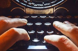 foto of time machine  - Details of an old typewriting machine retro style with dusty metal and buttons - JPG