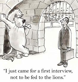 picture of not talking  - Cartoon of businessman talking to lion at the coliseum - JPG