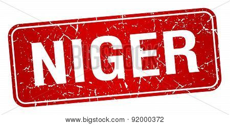 Niger Red Stamp Isolated On White Background