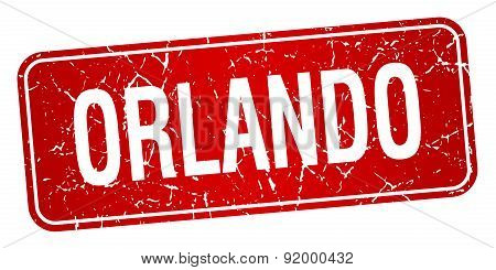 Orlando Red Stamp Isolated On White Background
