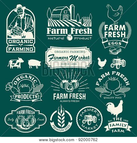 Farm logotypes set. Retro Farm Fresh labels, logos, badges, icons, objects and elements.