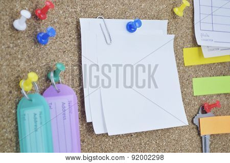 Colorful Sticky Notes, Pin And Tag Name On Cork Board