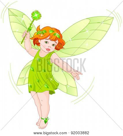 Illustration of a summer baby fairy in flight